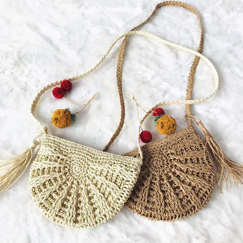 Woven Bags Shoulder Boho Tassels Round Crossbody Women Bag Beach Circular Summer Wicker Rattan Straw Tote Basket 2021 Vroag