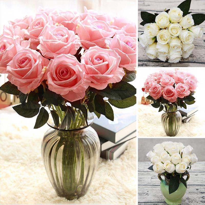 18pcs/lots Artificial Rose Flowers Silk cloth Flower for Home Party Decoration Wedding Bouquet Flowers Fall Decor Fake