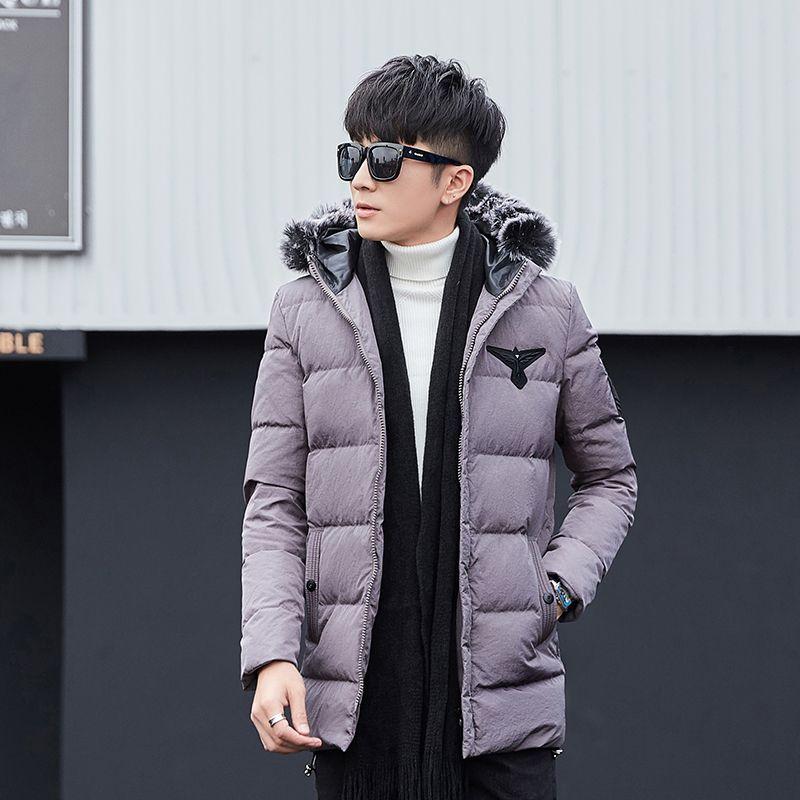 Мода Зимние куртки мужские пальто на вате Parka Мужчины Толстые Красный Серый Черный жакет с капюшоном Мех Collarcasual Длинные ветровки для мужчин