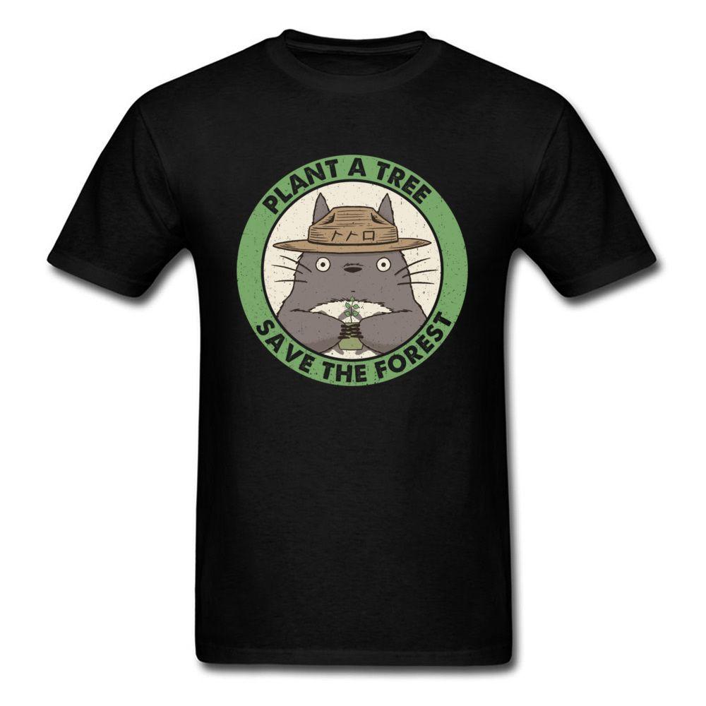 Pianta un albero salvare la foresta Tshirt Uomo Nero maglietta vicino Totoro Top Anime maglietta stampata Vintage Clothing Tees