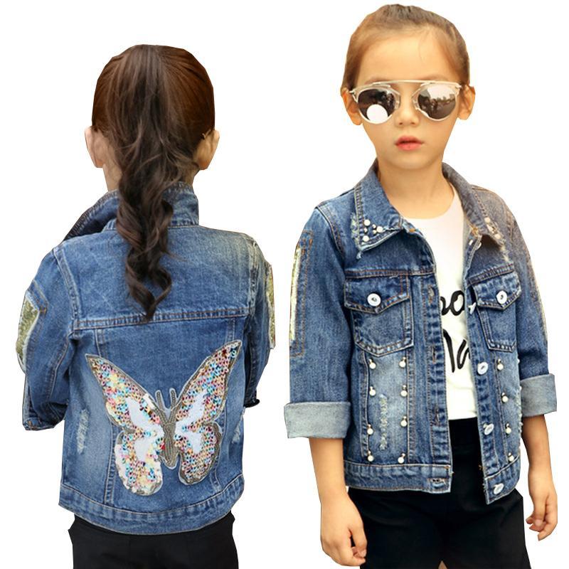 Big Girls Denim Jacket Cardigan Coat bambini Jean Outwear farfalla ricamo Paillettes bambini vestiti della molla dei vestiti