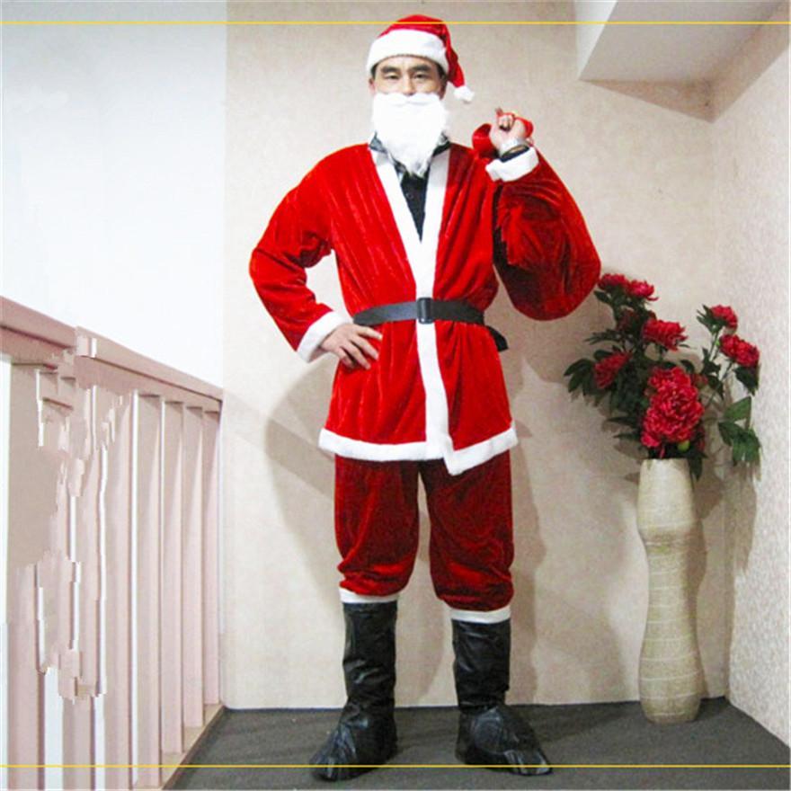 Natal de Papai Noel Tema Costume Party Unisex Cosplay Long Sleeve 5 Pieces Ternos Costumes Moda engraçados