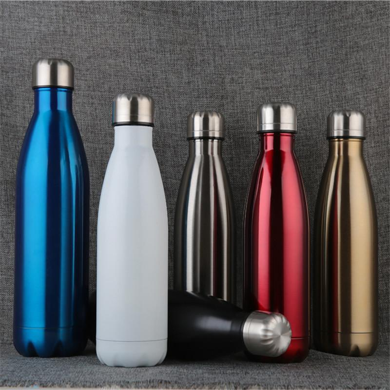 Ca /Usa /Uk Free 17oz Cola Shaped Bottle Insulated Double Wall Vacuum High -Luminance Cola Water Bottle Stainless Steel Tumbler