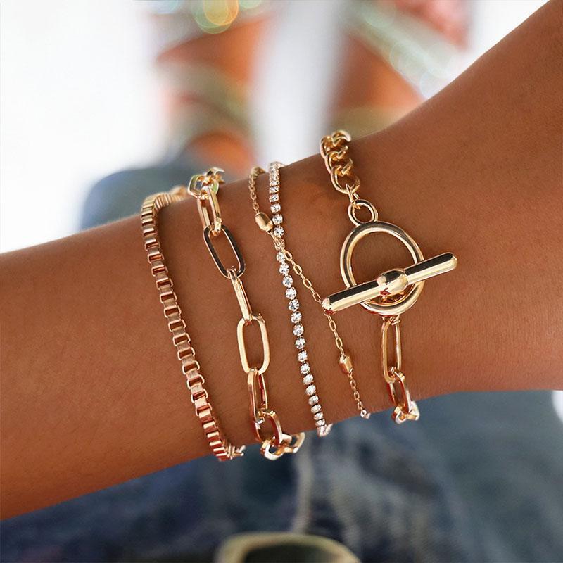 Yobest 5шт Золотой цепочка Браслеты Браслеты Набор BOHO браслеты шарма для женщин наручного Femme ювелирных изделий
