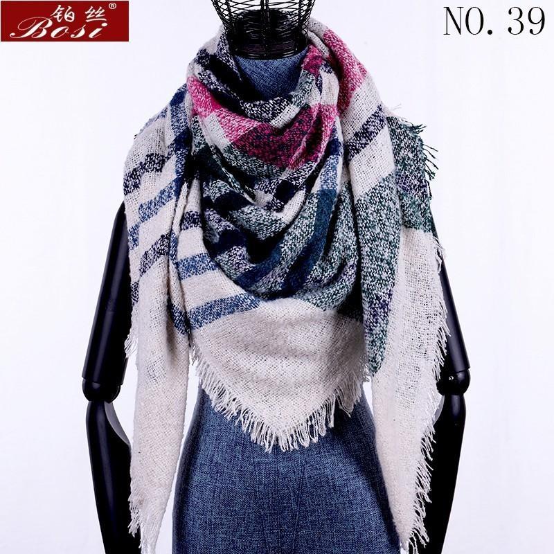 겨울 캐시미어 격자 무늬 스카프 목도리 sjaal 여성 판쵸 삼각형 두건 디자이너 랩 대형 스톨 럭셔리