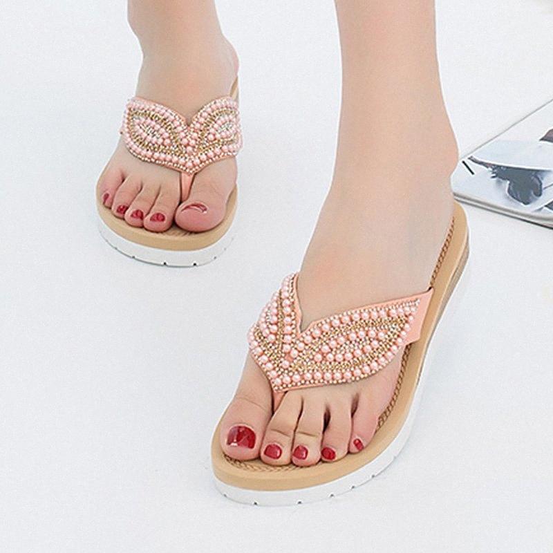 Kadınlar Kadın Ayakkabı Yumuşak Düz Plaj Flip Bayan Yaz Ayakkabı süsleme İnci Yaprak Zarif Sandalet Kadınlar Diz Yüksek Gladiato UYes # için Floplar