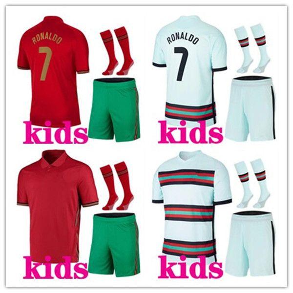 enfants 2020 2021 kits de football Portugal équipe nationale à domicile uniformes maillot de football Ronaldo 20/21 maillot de foot maillot de football kits de football enfants