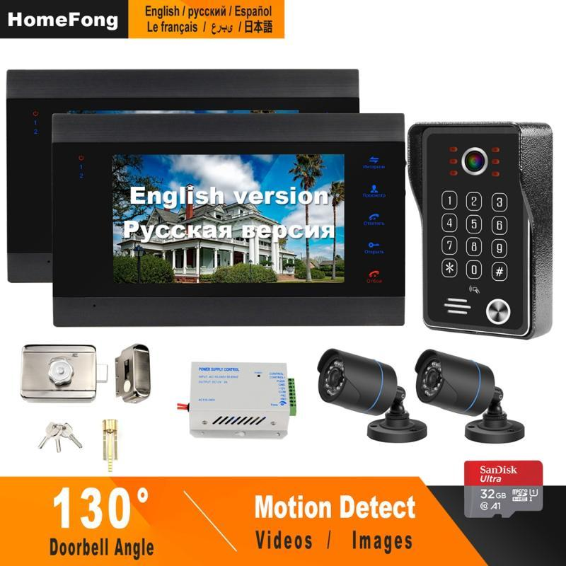 HomeFong Wired Video Intercom Sysetm with Electronic Lock CCTV Camera Motion Detect Record Home Security Access Control System