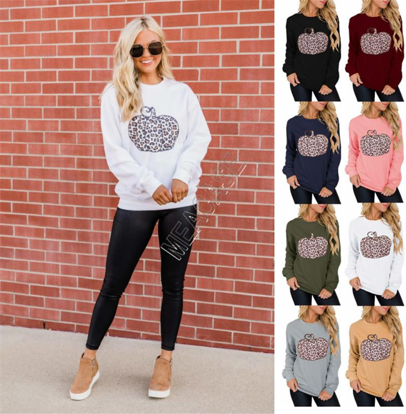 Halloween Pullovers Women Designers Hoodies Leopard Pumpkin Pattern Printed Sweatshirts Ladies Autumn Winter Casual Fashion Clothing D9712