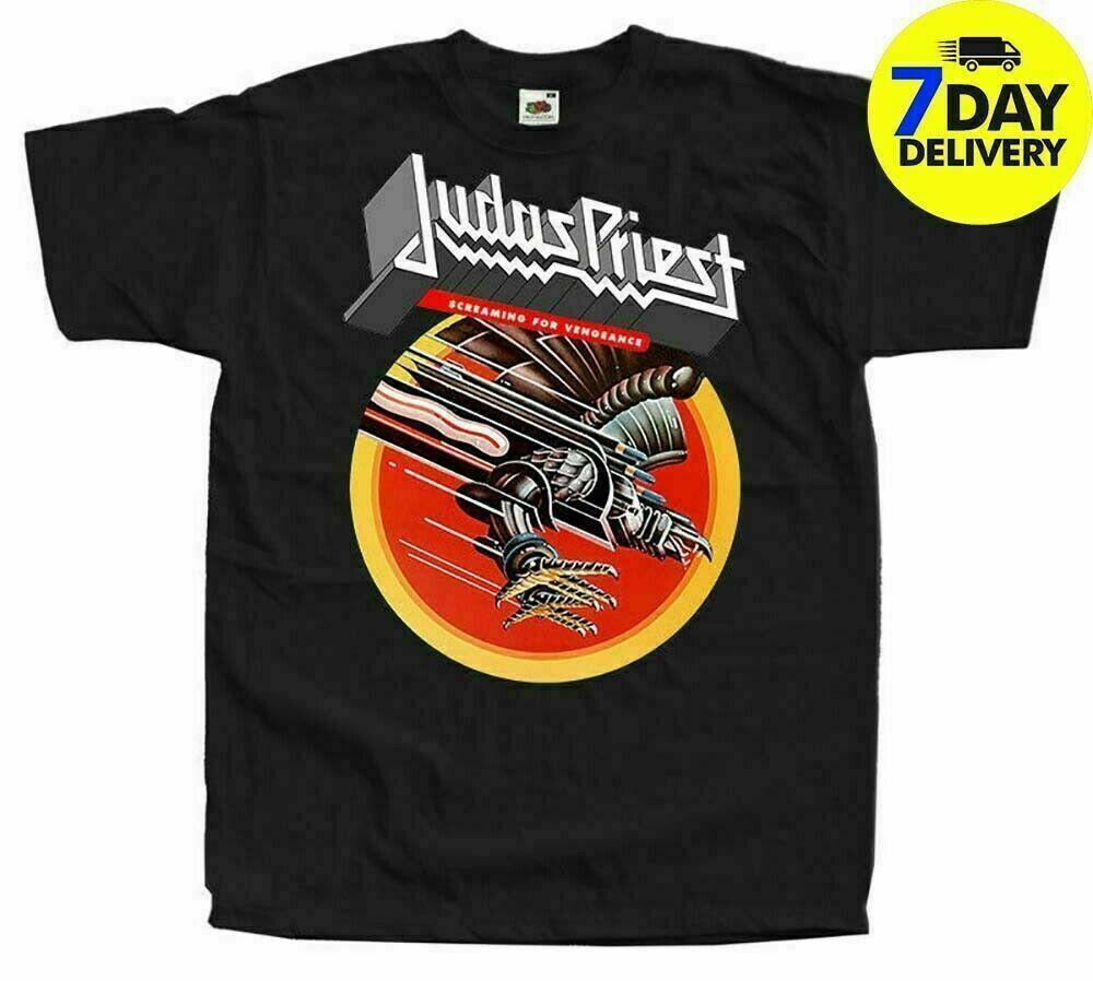 Judas Priest Screaming for Vengeance 1982 Mens Camicia nera di cotone S 5Xl Fun