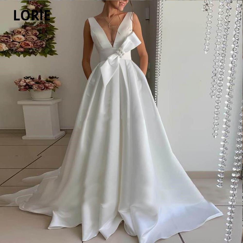 Baratos Mancha Vestidos de casamento com Bow destacável 2020 V Neck Open Back Vestido De Novia Longo A Linha Jardim vestidos de noiva sob encomenda