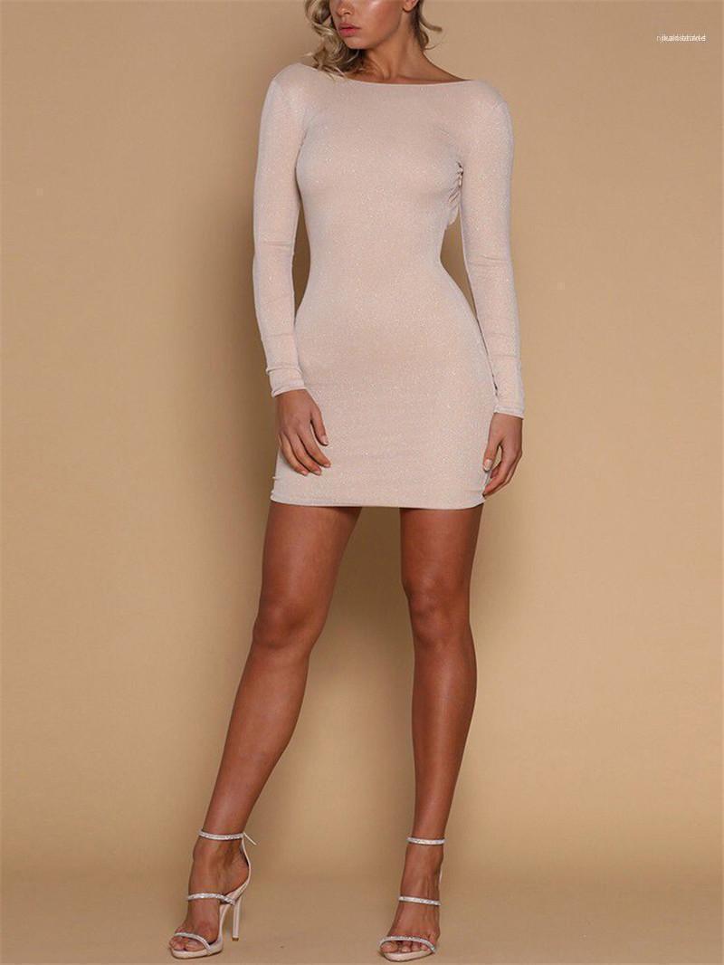 La ropa del club nocturno atractivo de la cadera vaina ropa informal para mujer atractiva del verano diseñador del vestido de espalda abierta de manga larga