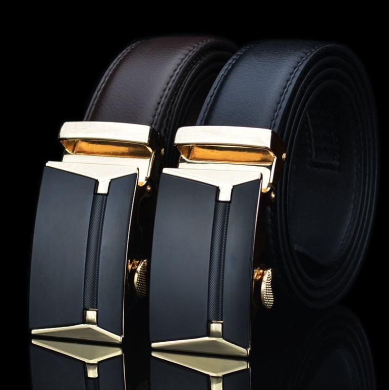 Мужчины Бизнес Стиль Пояс 100% натуральная кожа Мужской ремень Автоматическая пряжка верхнего качества ремень Ремни для костюмных брюк