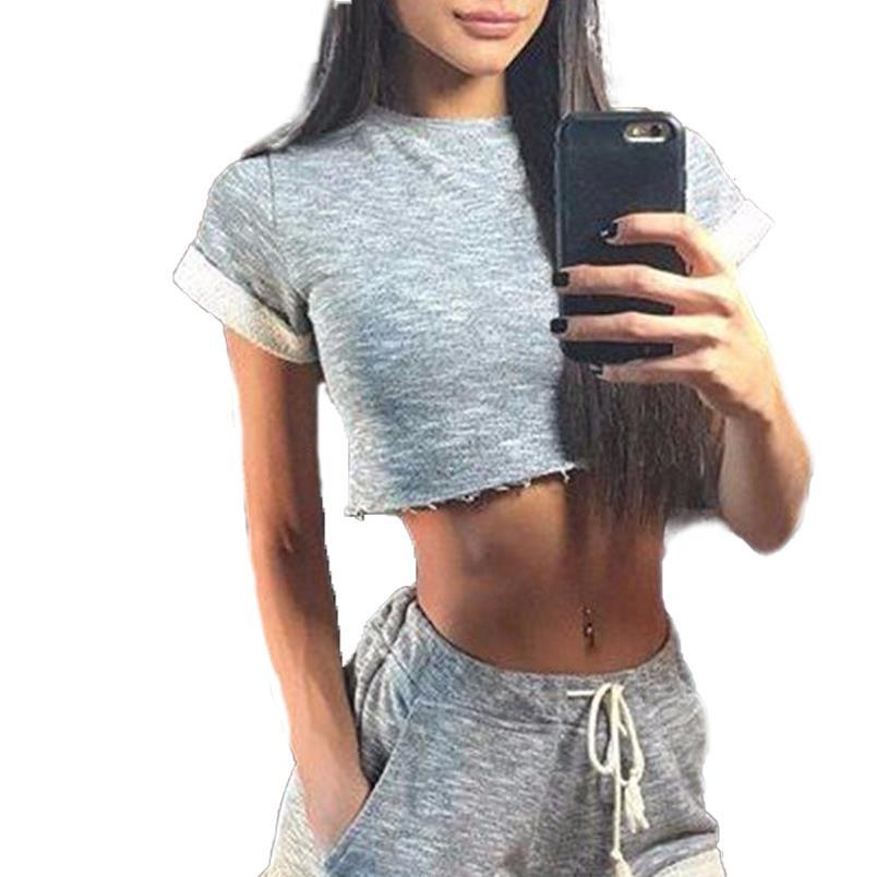 Summer Tracksuit Mulheres Conjunto 2 pcs Moda Sexy Camis Crop Top Solid Small Set Sports Simplicity Beach Holiday