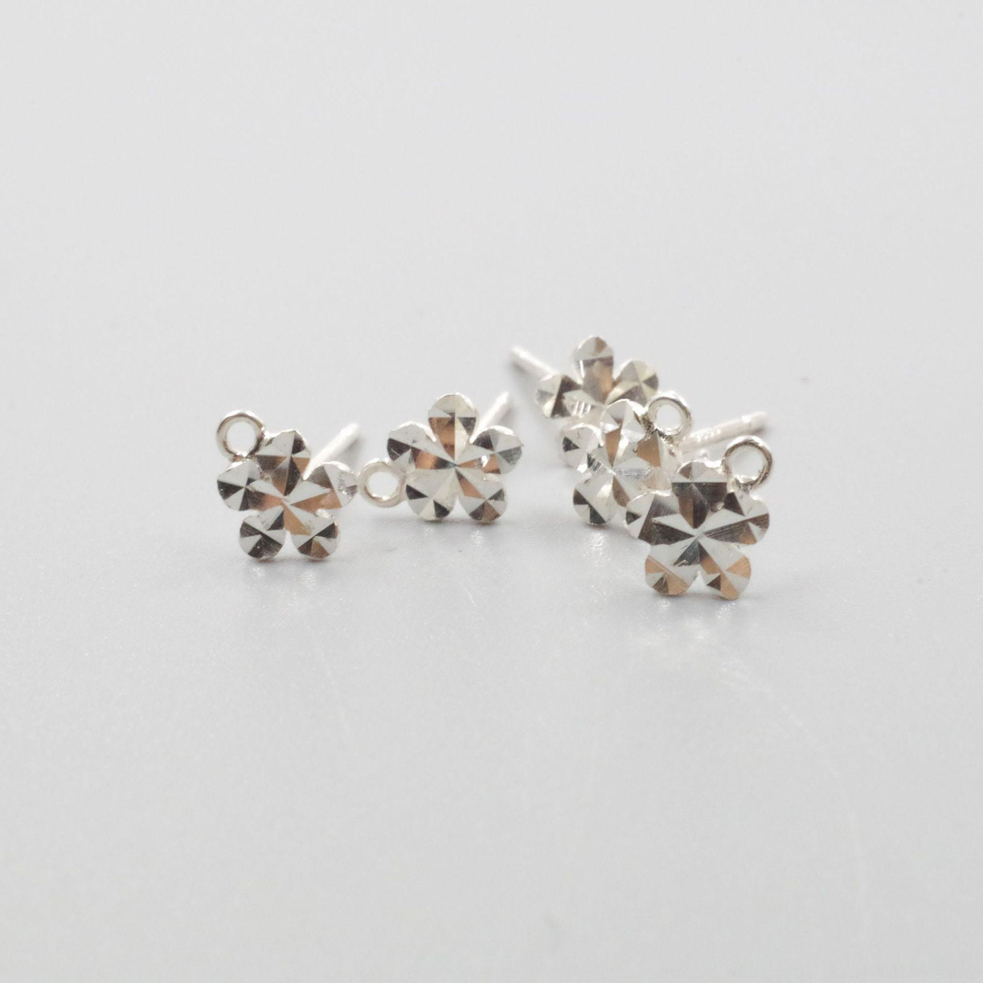 MuhBJ S925 Sterling Ohrringe DIY Blume Ohrringe Silber Auto Blume Pflaume Ohrbolzen Plus Ring DIY Ohr japanische Gestüt und koreanischen Stil Mode pe
