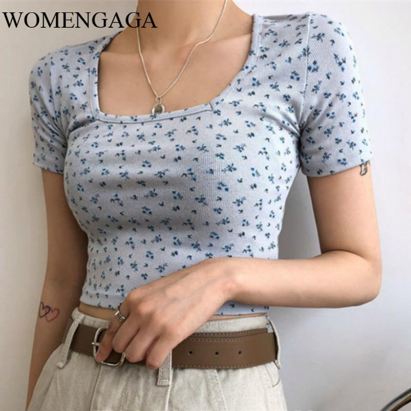 BLUE Small Floral Short-Sleeved T-shirt 2020 Spring And Summer Square Collar Short Navel Top Women Sexy Girl Female UDGM