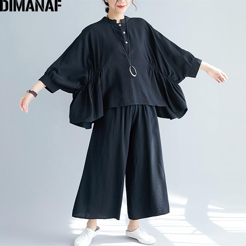 المرأة رياضية dimanaf زائد حجم مجموعات بدلة المرأة الملابس خمر أنيقة سيدة قمم قمصان طويلة الأكمام السراويل فضفاضة الصلبة الأسود الخريف