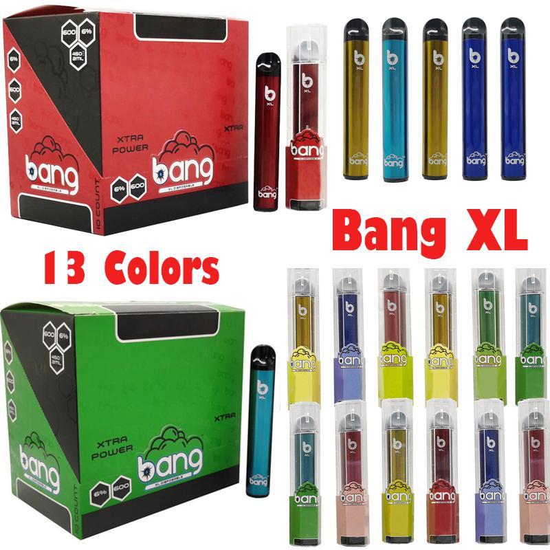 Hottest Банг XL Xtra одноразовое устройство Vape Pod 2мл Емкость 450mAh батареи Стартовые комплекты Ecig Испарители 600 пуфы 13 цветов Упаковка Empty