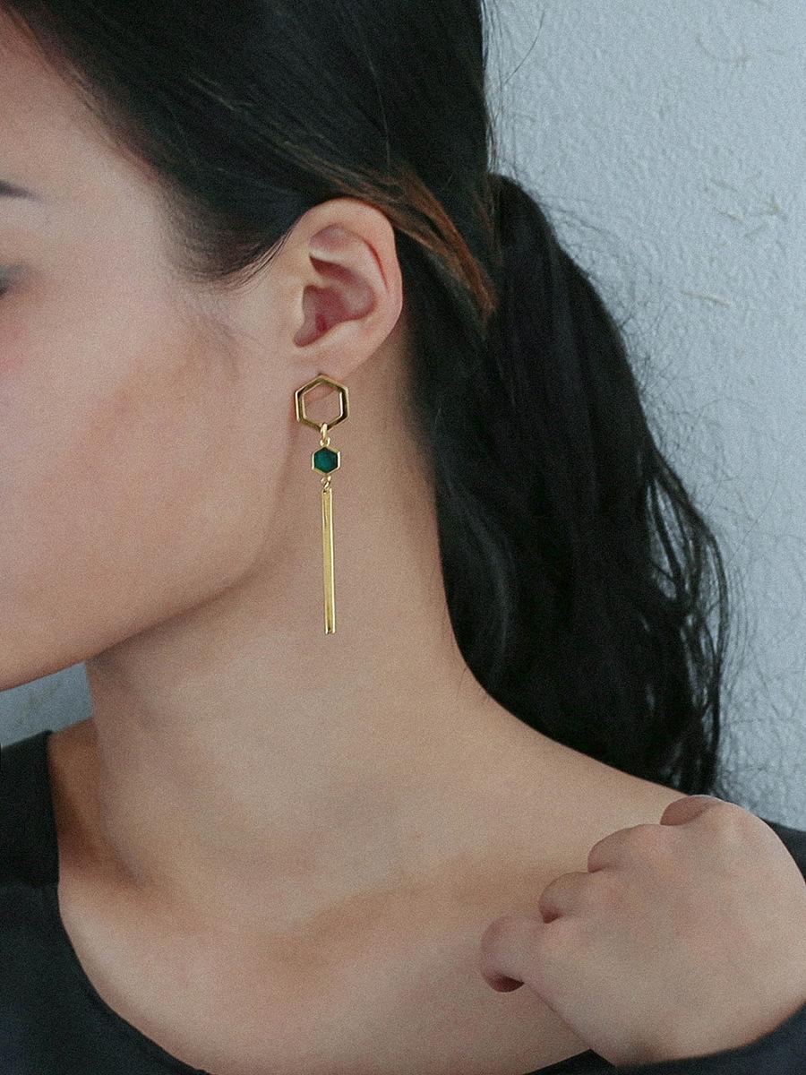 3lExU 925 gümüş altın kaplama malakit petek ve küpe kadın ins tarzı basit geometrik asimetrik uzun küpe küpe
