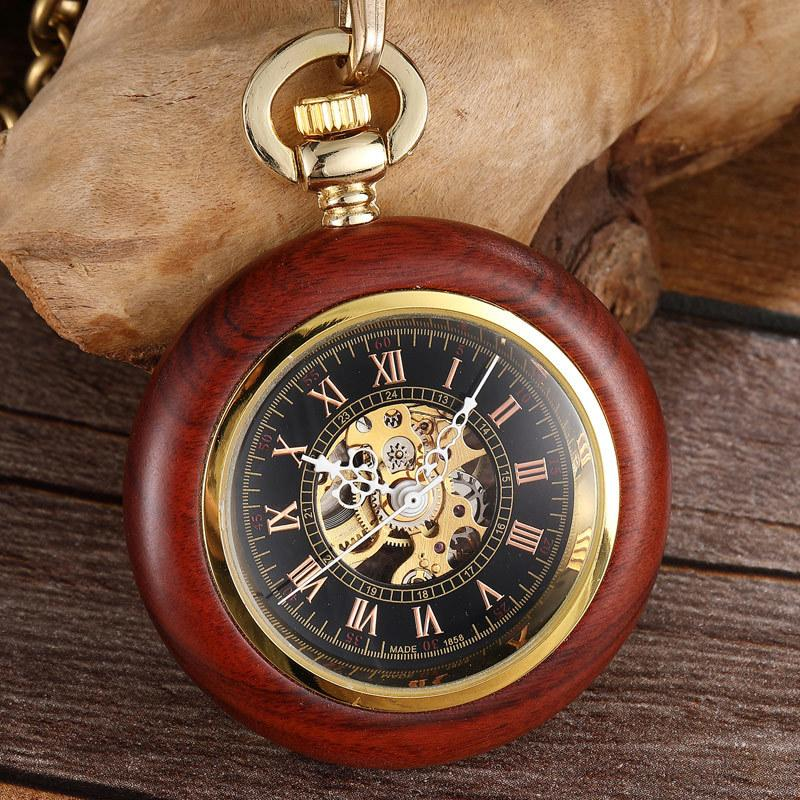 Unique Wood Case Mechanical Pocket Watch Hand Winding Steampunk Skeleton Fob Watches Chain Romans Necklace Pendant for Men Women T200502