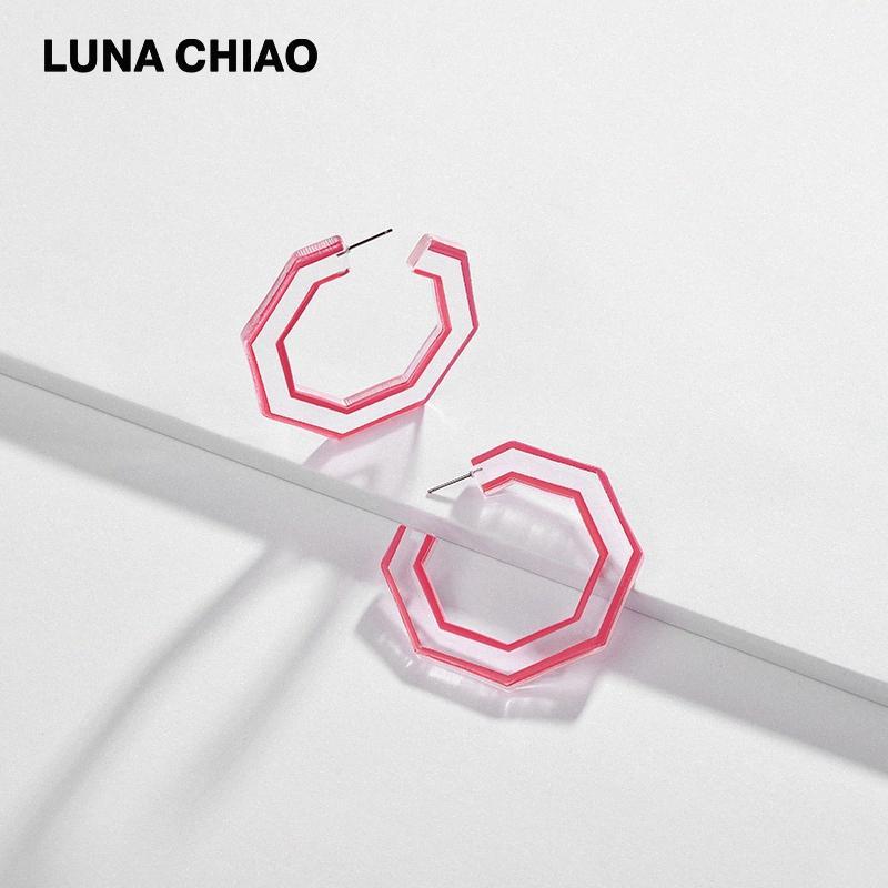 CHIAO Fashion Jewelry Hexagon-Form-Acrylohrreifen, Frühling, Sommer freier transparente Harz-Ohrringe für Frauen Sicy #