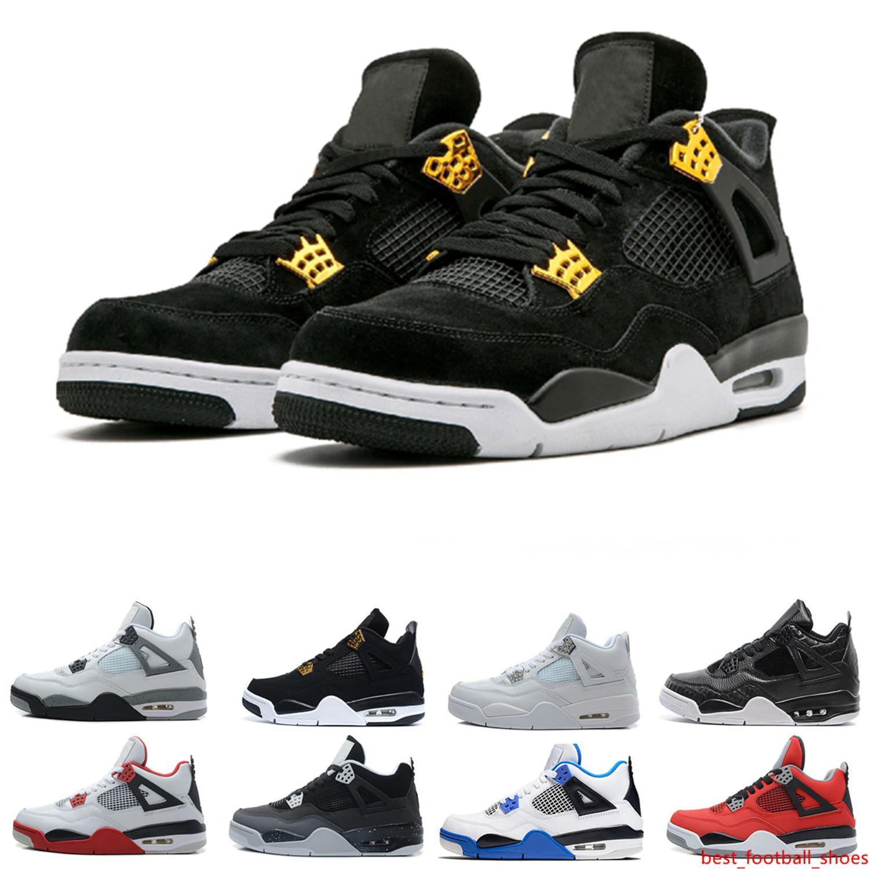 Envío de la gota 4 Zapatos Cactus Jack baloncesto para los hombres puros Raptors de cemento dinero Royalty blancos Bred militares del azul de instructor para hombre de las zapatillas de deporte Deporte