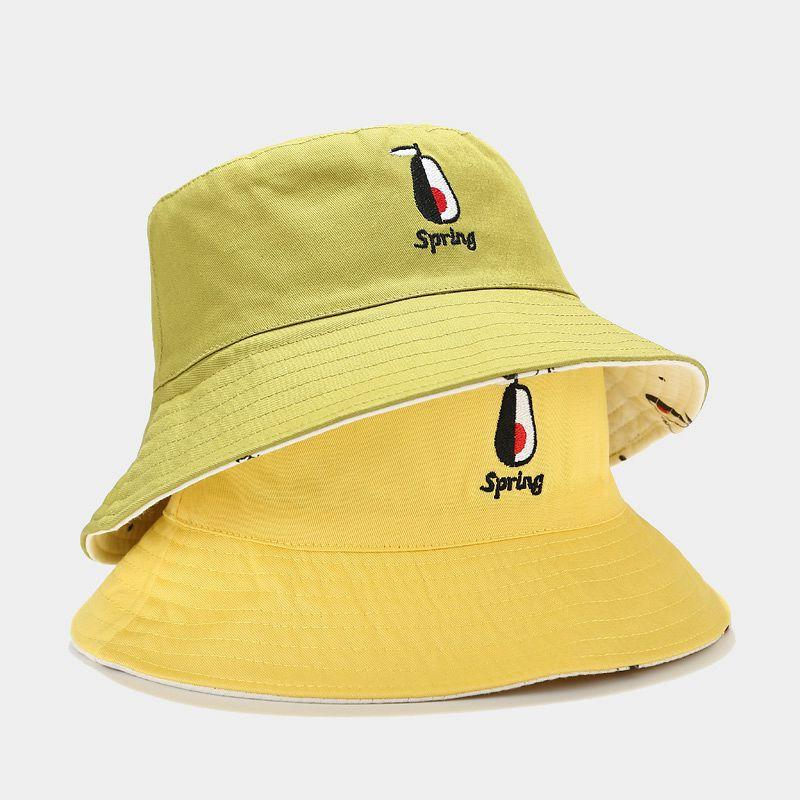 2020 Bucket Hat Double Sided Sun Hats For Women Men Pear Print Basin Chapeau Fisherman Cap Students Bob Femme Panama Hats