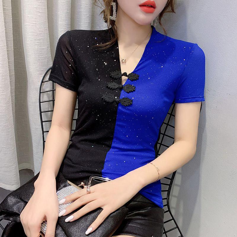 Donna Top Nuovo 2020 Estate manica corta con scollo a V una maglietta per stile maglietta cinese di modo delle donne più di formato Blusas