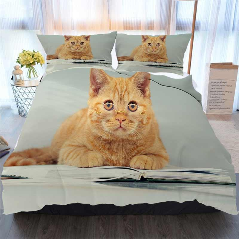 3D Juegos de cama de diseño Gato rojo con Ubicada en vasos de Conjuntos Un libro edredón del lecho edredón de cama