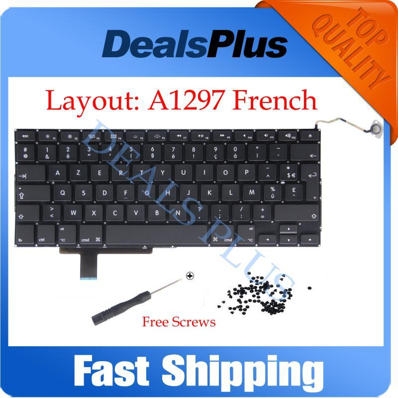 "New A1297 French Keyboard with Screws For Pro 17"" A1297 FR France French Keyboard 2009 2010 2011"