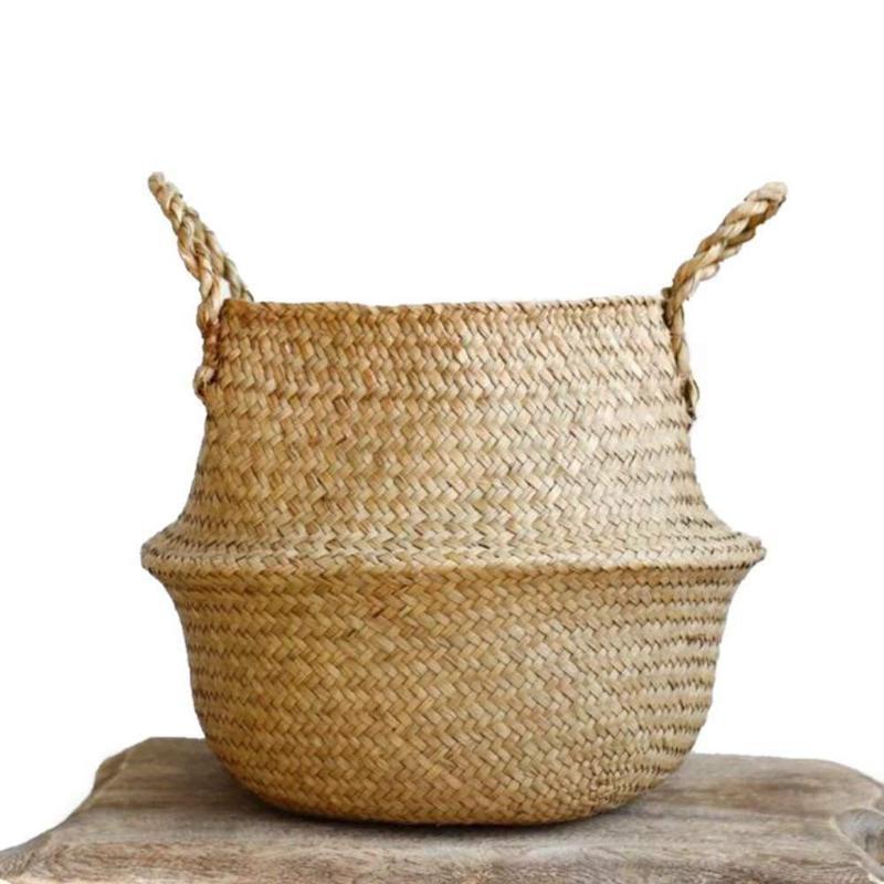 المنسوجة الأعشاب البحرية سلة المنسوجة الأعشاب البحرية حمل سلة البطن لتخزين الغسيل نزهة النبات وعاء الغلاف شاطئ حقيبة
