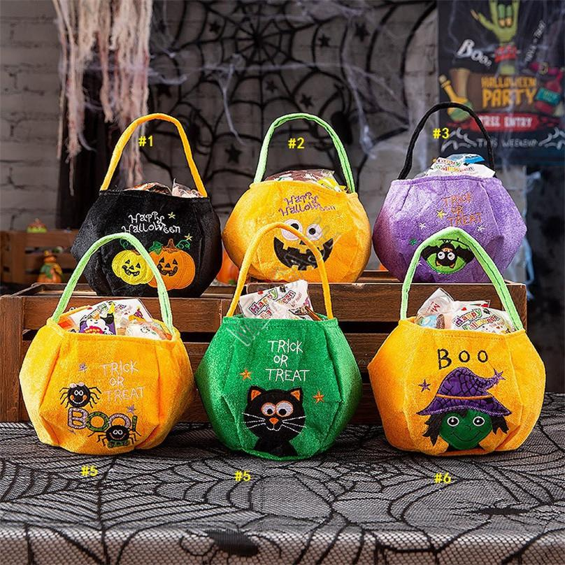 Halloween Pumpkin Totes Kids Childen Trick or Treat Candy Bags Handbag Purses Bat Cat Letters Embroidery Hallowmas Party Decor Gifts D9710