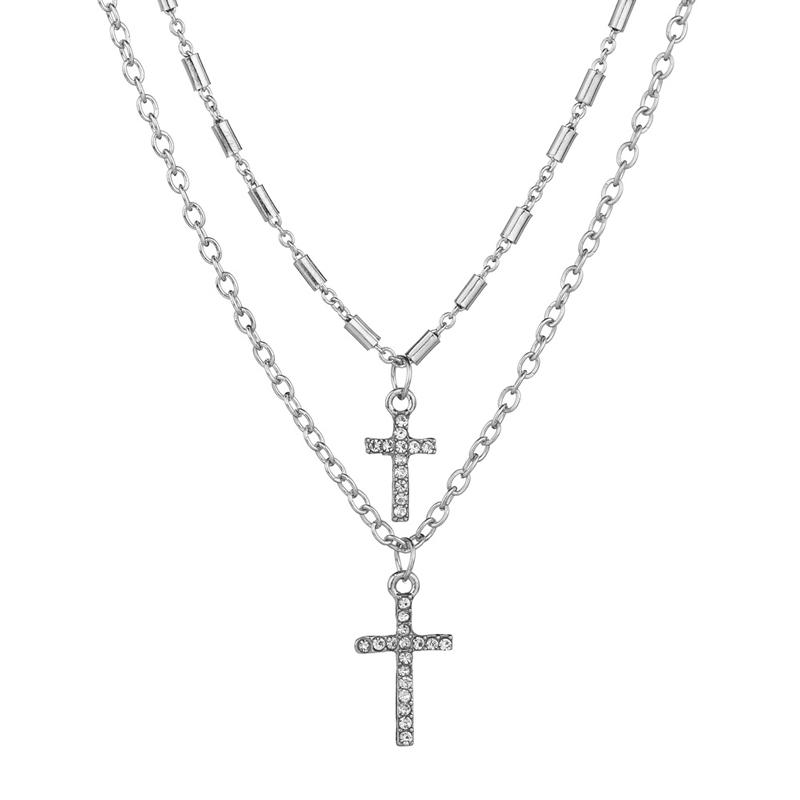 NIUYITID Religion Double Layer Chain With Cross Crystal Pendant Necklace Jesus Men Women Jewelry collier femme 2020