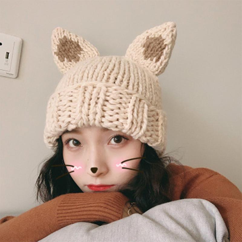 Ladies' Outono E Versão Coreana Inverno do selvagem Orelhas de gato quentes Gorro Grosso Calor de lã de malha Cap New Arrival