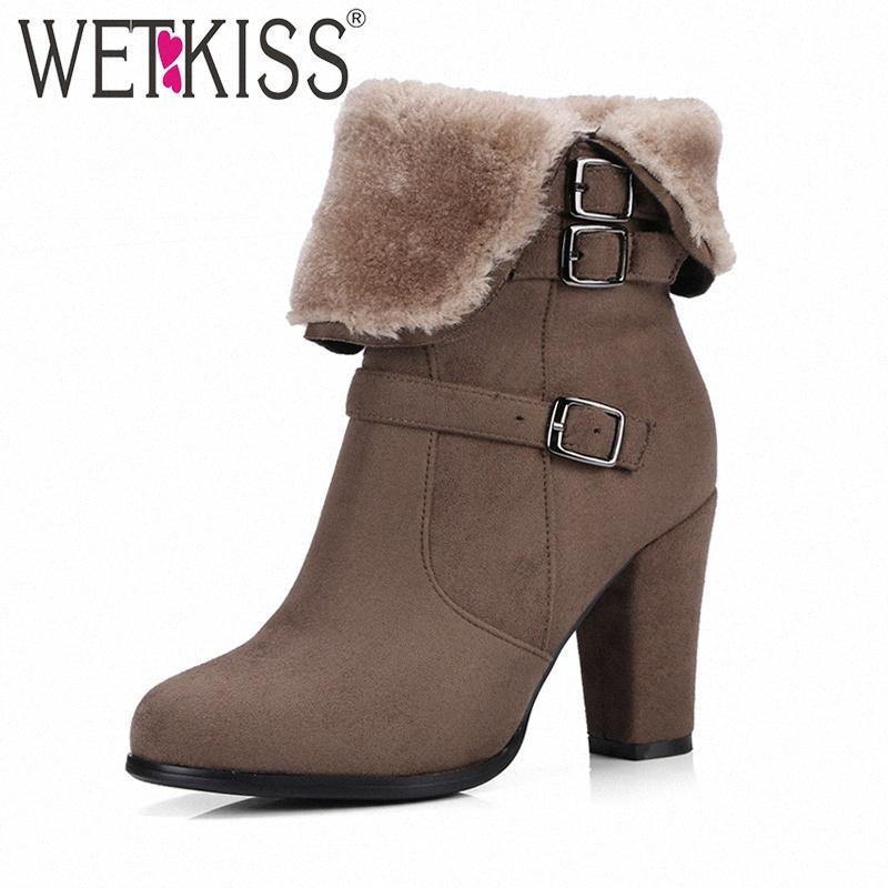 WETKISS Марка Толстые плюша Снег Ботильоны Женщины Keep Warm Winter Boots пряжка ремень Боковая молния Толстые высокие каблуки обуви женщины 44zf #
