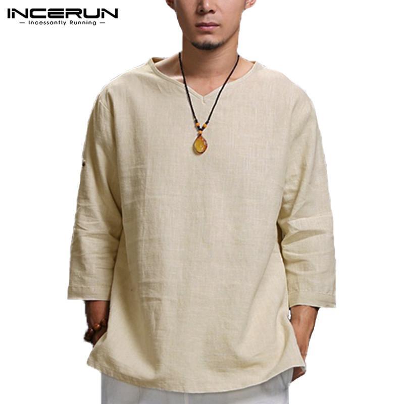 Vendita calda Plus Size 5XL stile cinese uomini della maglietta solido allentato 3/4 manica con scollo a V T shirt da uomo Mens T-shirt casual in cotone vintage