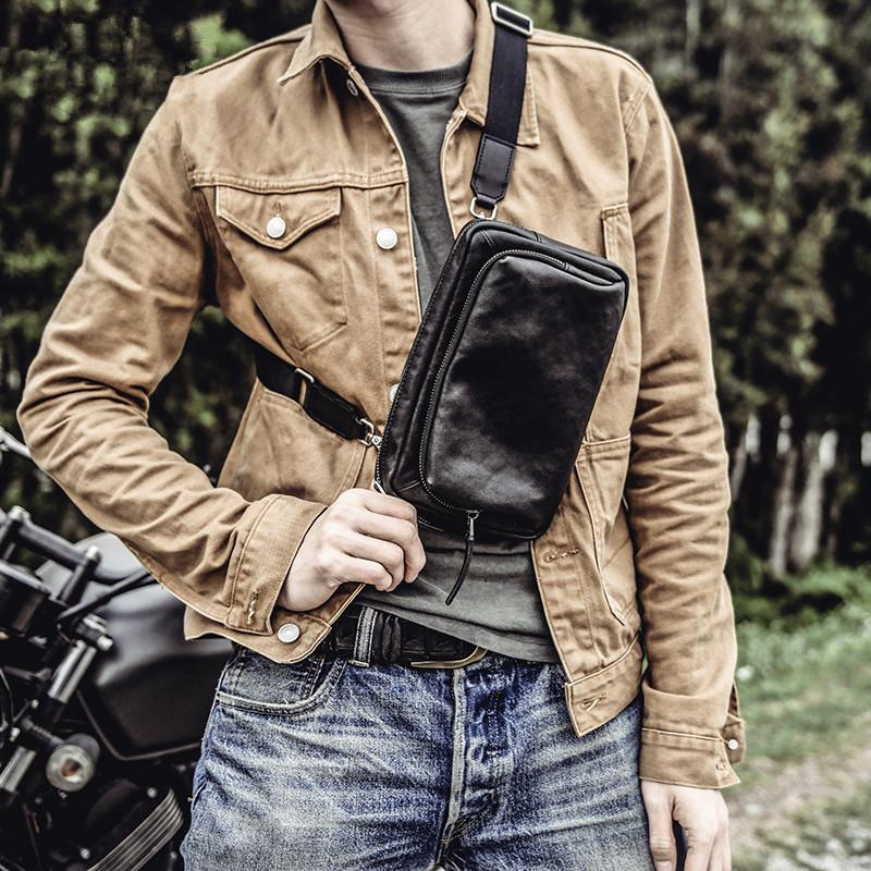 cuero genuino ocasional simple para hombre bolsa pequeña bolsa de mensajero de la manera multifuncional suave y natural de vaca negro diaria de embrague