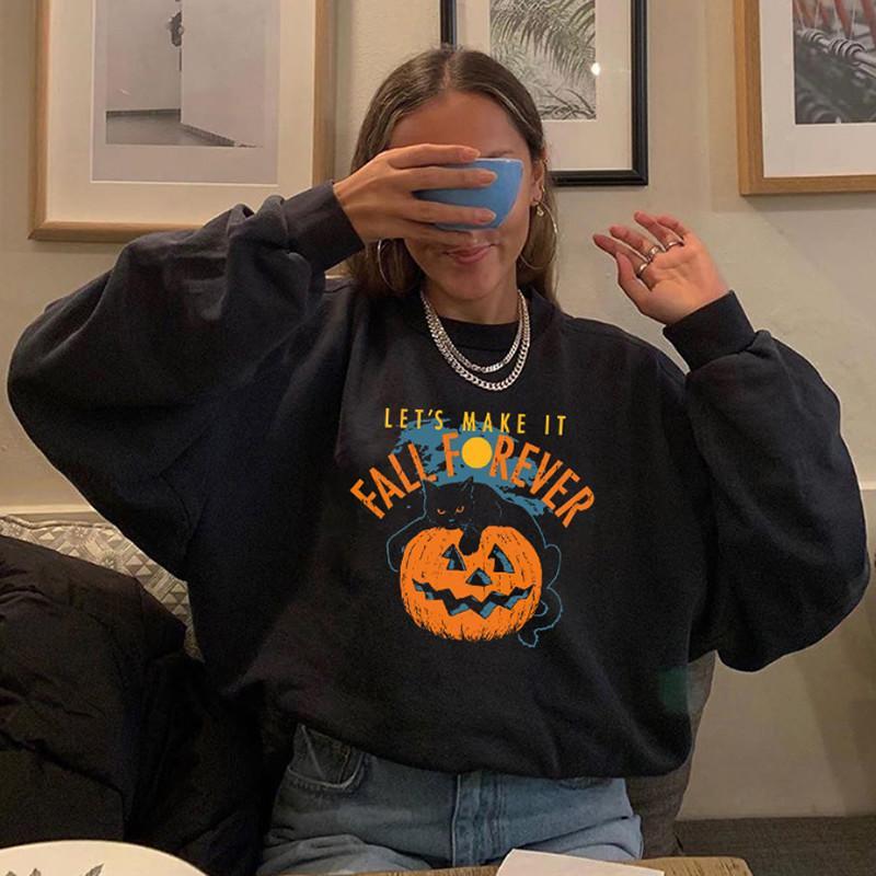 2020 Yeni Cadılar Bayramı Kabak Kedi Baskılı Sweatshirt İskelet 0916 Kadınlar Kapüşonlular Sonbahar Kış Uzun Kollu Kazak Streetwear yazdır
