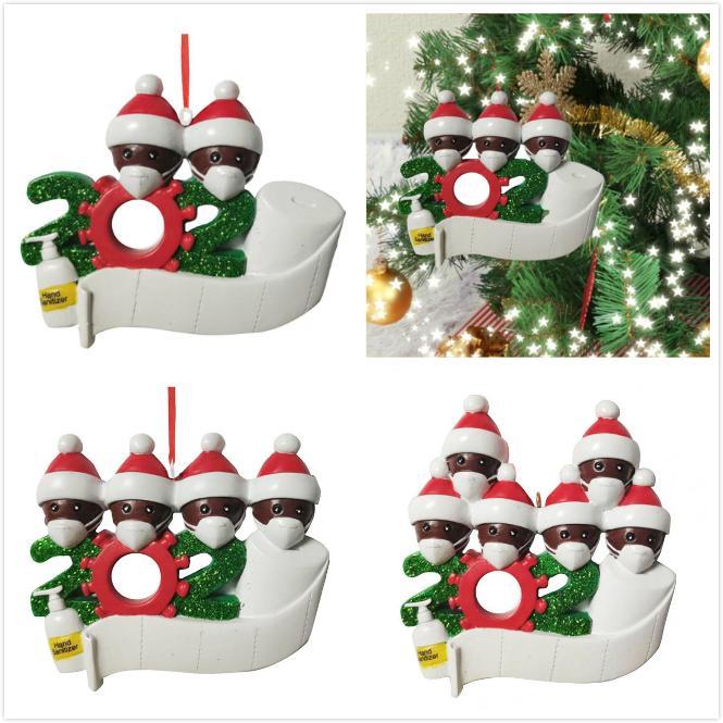 PVC Noel Süsleme DIY Selamlar 2020 Karantina Noel doğum günü partisi Pandemik Sosyal Mesafenin Noel ağacı kolye Aksesuarları