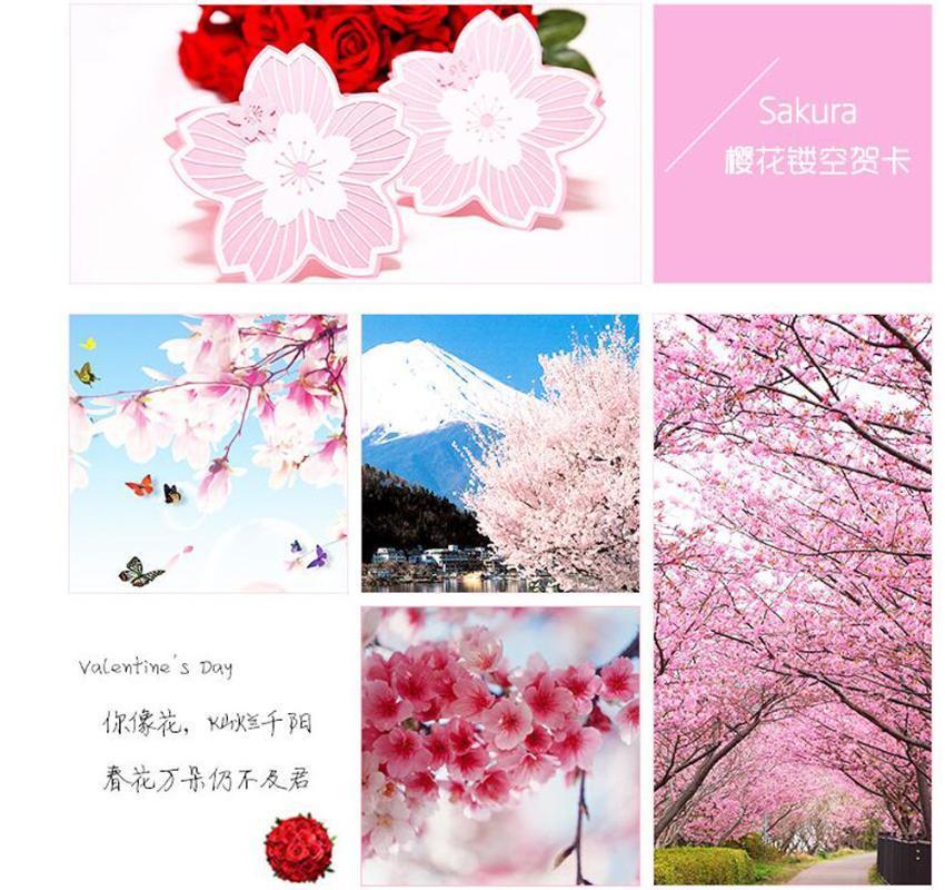 NUOVO Liberi la nave 4x 6x 8x 13x13cm handmade squisita 3D ripiegare nozze compleanno biglietti di auguri invito Sakura a tema