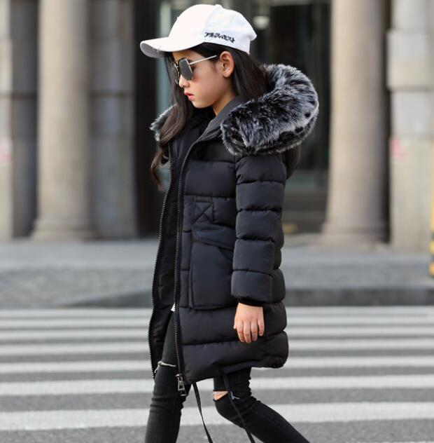 Filles Manteaux d'hiver 2020 nouveau col en fausse fourrure à capuchon vers le bas Parka enfants filles Épaissir chaud Outwear enfants Vestes Manteaux