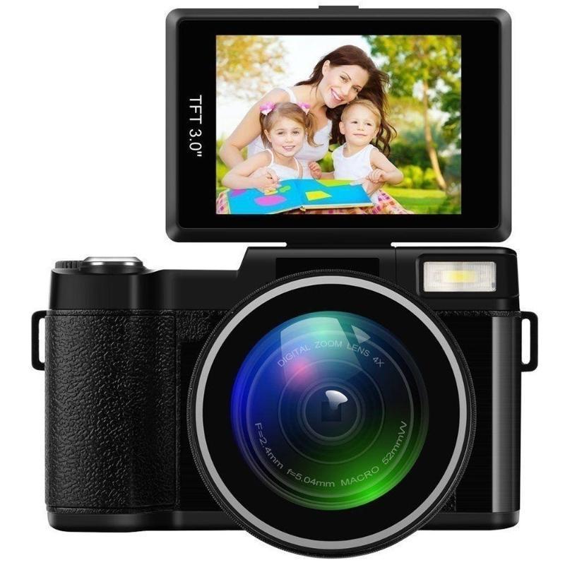 24MP Full HD 1080P 4X Caméra de zoom numérique à 180 degrés Rotatif 3,0 pouces écran LCD Video Vlog caméra caméscope