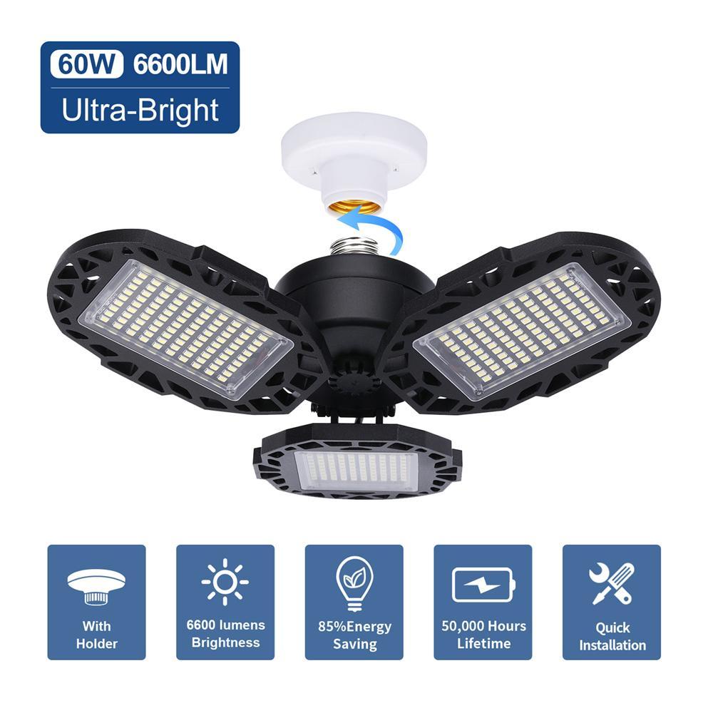 أضواء السقف LED المرآب ضوء 60W 100W 120W 6000K تشوه LED كراج، CRI80 بقيادة متجر أضواء لالمرآب، الطابق السفلي، مستودع