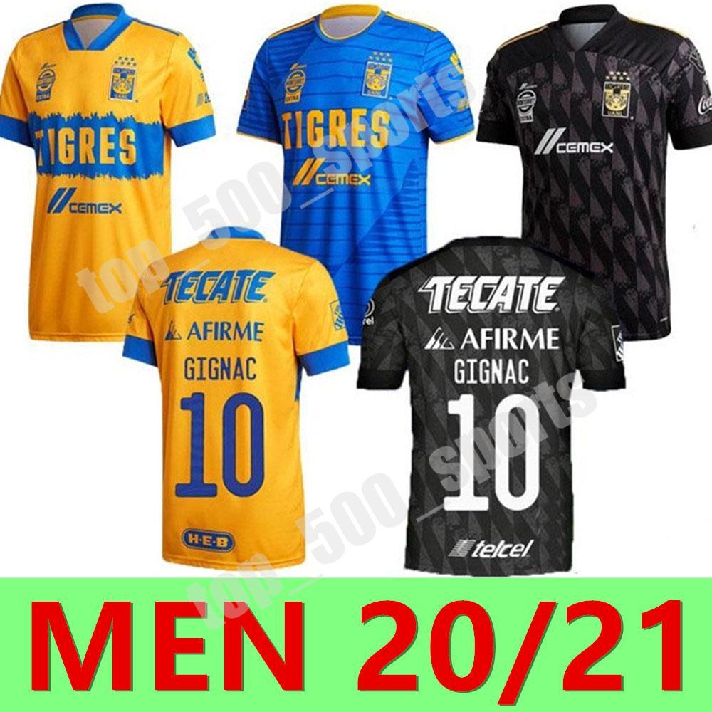 새로운 20 21 7 스타 naul tigres 홈 축구 유니폼 2020 2021 Tigres 멀리 Gignac Camiseta de Foot Maillot 축구 셔츠 세 번째 축구 유니폼