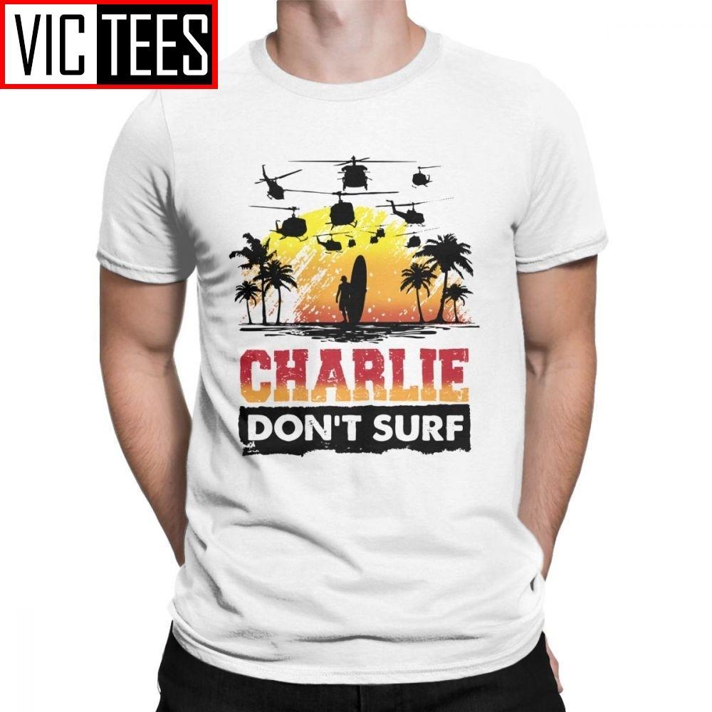Charlie Do not Surf camiseta de los hombres de algodón de primera calidad 100 camiseta de la novedad Kilgore Vietnam tabla de surf Helicóptero Tee de manga corta Ropa