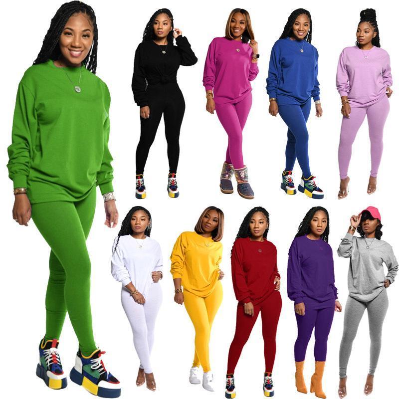 Женщины двухкусочный костюмы сплошной цвет с длинными рукавами Jogger Set пуловер Спортивная Повседневный осень-весна Спортивные костюмы Плюс Размер одежды
