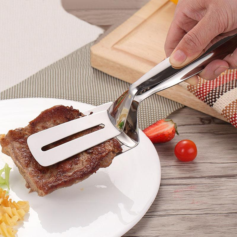 Multi -Purpose Pizza Bread Clips Stainless Steel Bread Tongs Bbq Clips Fried Steak Shovel Bread Meat Clamp Kitchen Accessories Bh3053 Tqq