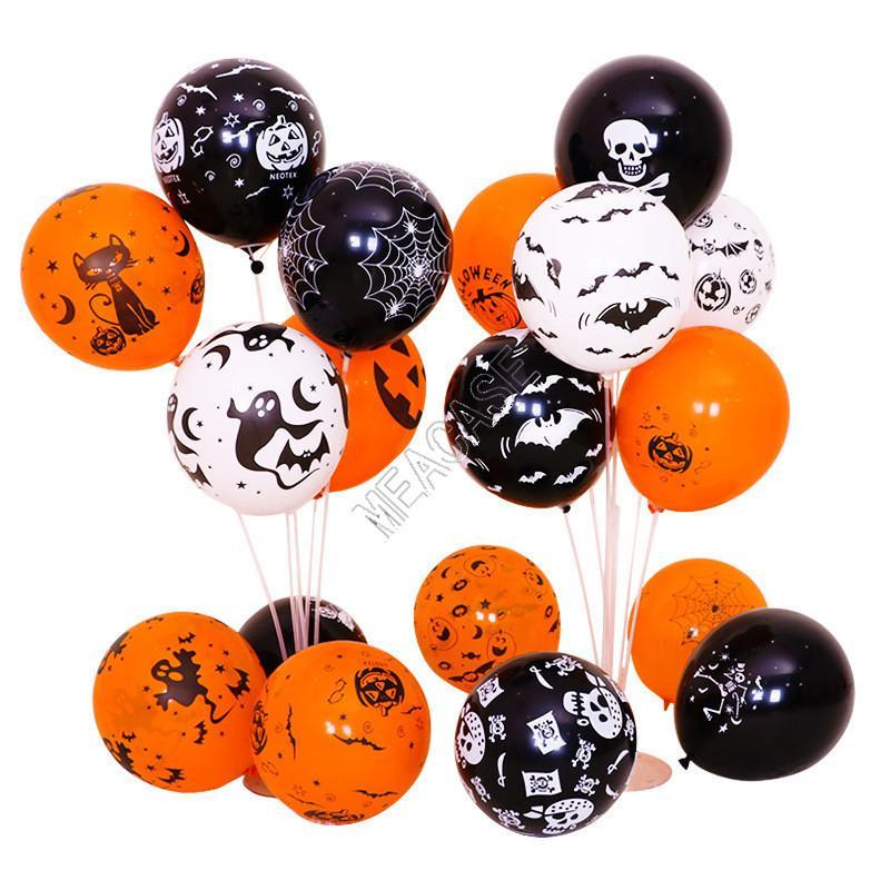 12inch Hallowmas Balão decorativa balões Festival partido do dia Props Crânio abóbora Fantasma da aranha dos desenhos animados balões de látex airballoon D9713