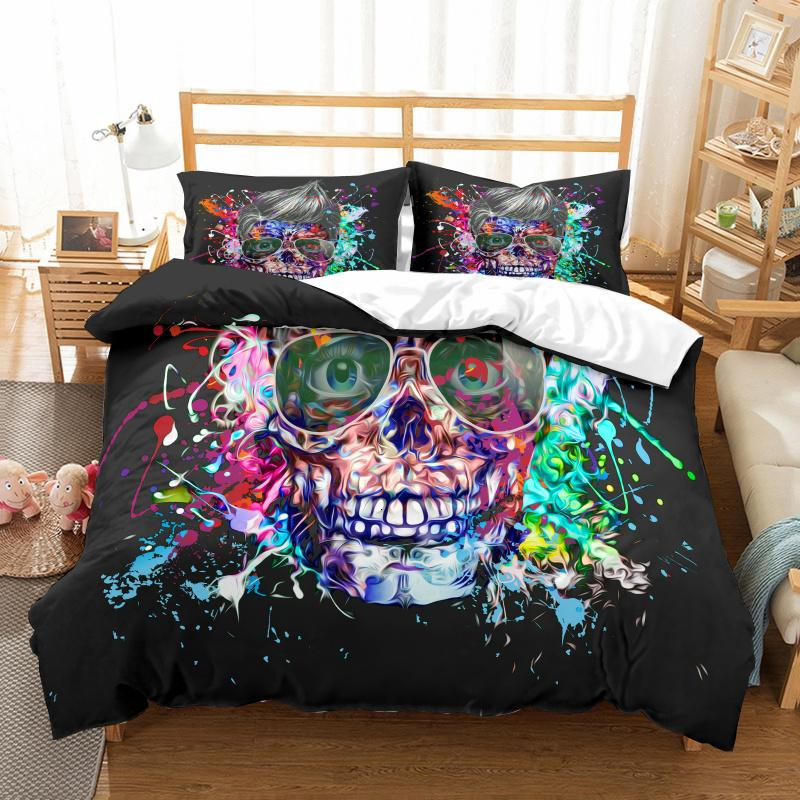 Yi Chu Xin Skull Sugar Bedding Duvet Cover Set Custom Size Queen Comforter Sets Nightmare Before Christmas 7k5w