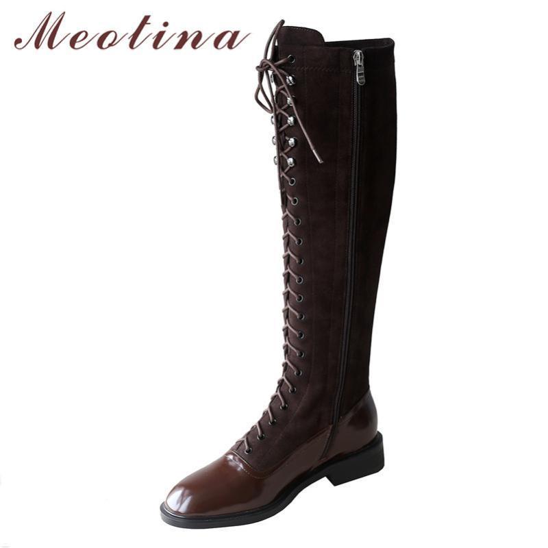 Meotina Winter Knee High Boots Женщины Естественный натуральная кожа Flat Длинные сапоги на молнии Круглый Toe обувь Женская Новая осень Размер 34-39
